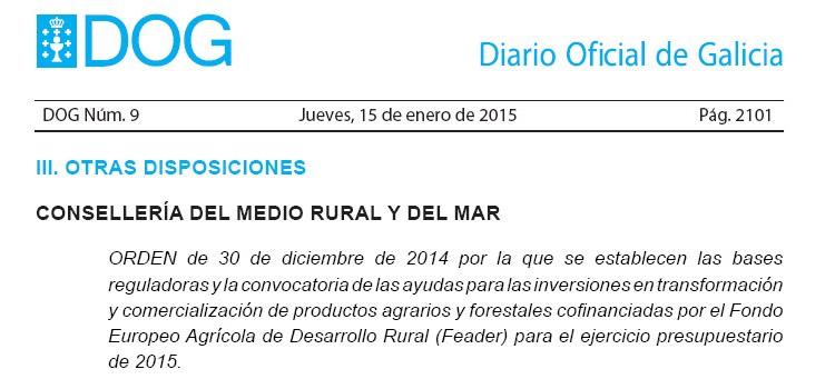 Publicadas las ayudas para las inversiones en transformación y comercialización de productos agrarios y forestales