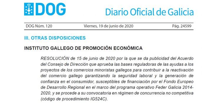 AYUDAS REACTIVACIÓN COMERCIO MINORISTA GALLEGO