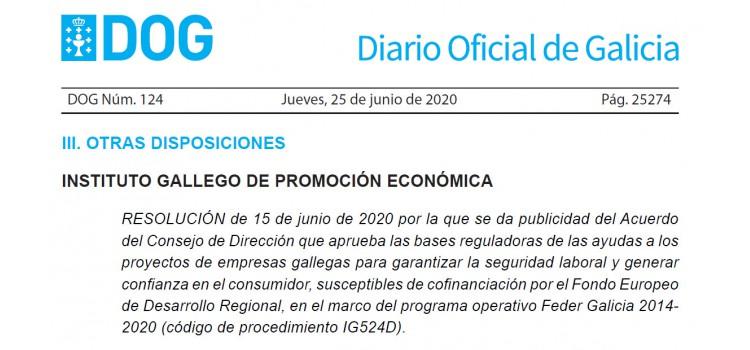 Ayudas a los proyectos de empresas gallegas para garantizar la seguridad laboral y generar confianza en el consumidor